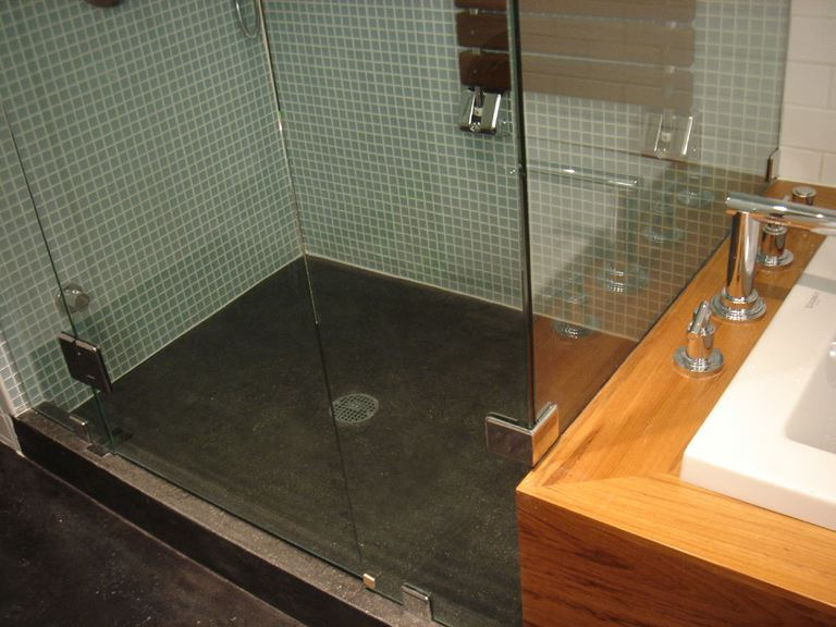 Concrete polished floor polished concrete shower floor for Polished concrete floor bathroom